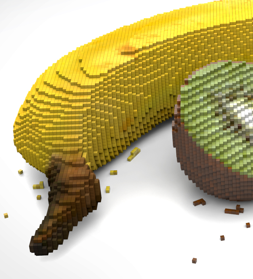Pixelated banana in 3D