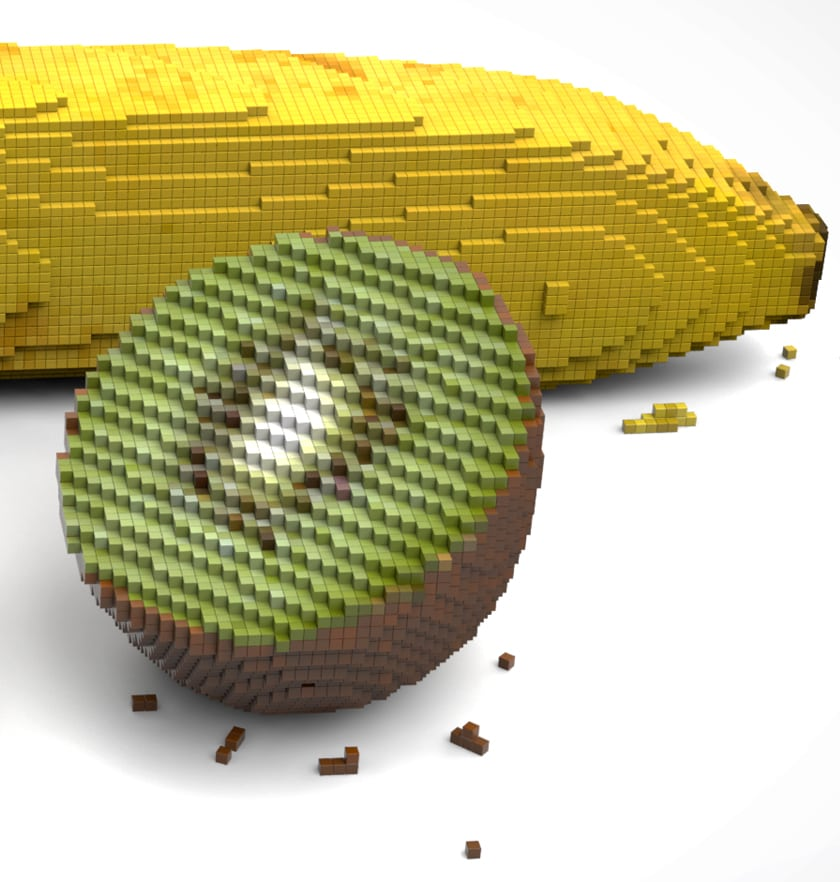 Pixelated fruits in 3D